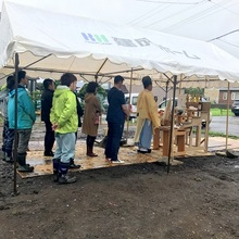 雨の中、地鎮祭と社内検査!
